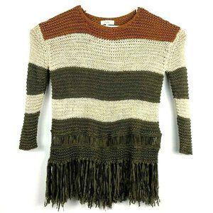 Anthropologie Entro Fringe Pullover Sweater Crew S